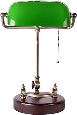 QJUZO Lampe de Banquier Verte Vintage, Lampe de Bureau Bois, Lampe de Table Rétro Miroir, Orientable, Interrupteur à Tirette,