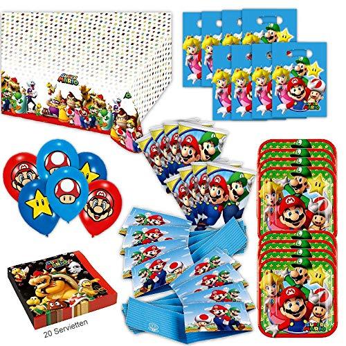 Super Mario Party Set XL 69-teilig für 8 Gäste Nintendo Deko Geburtstags Kit