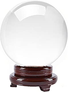 Amlong Crystal Clear Crystal Ball 8 inch (200mm) Diameter with Wooden Stand