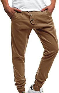 Qootent 2019 Men's Cargo Jogger Pants Workout Sweatpants Casual Button Trousers