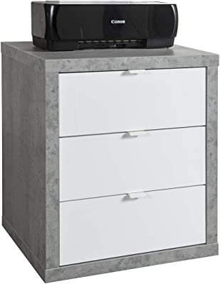 Marque Amazon - Movian Meuble de rangement à 3tiroirs et à roulettes, 55x65,5x45cm, Finition béton/blanc