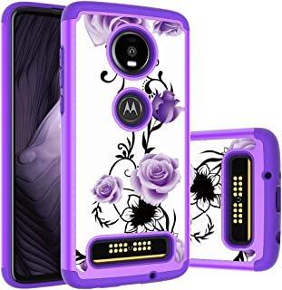 Moto Z4 Play Case, Yuanming Hybrid Dual Layer TPU & Hard Back Cover Bumper Protective Shock-Absorption & Skid-Proof Anti-Scratch Hybrid Case for Motorola Moto Z4 Play (Purple)