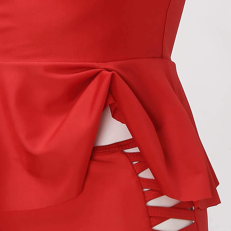 FORUU Swimsuits for Women 2021,Summer Womens Bathing Suit Plus Size Print Strappy Back Tankini Set Two Piece Swimdress