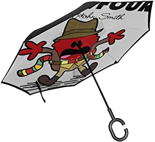 Dr Four Doctor Who Tom Baker Mr Men Double Layer Inverted Umbrella For Car Reverse Folding Upside Down C-Shaped Hands - Lightweight & Windproof – Ideal Gift
