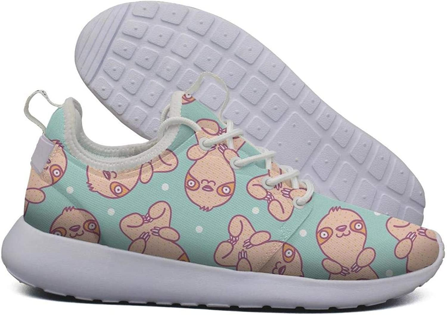 Hoohle Sports Womens Green Sloth with dots Flex Mesh Roshe 2 Lightweight Casual Cross-Trainer shoes