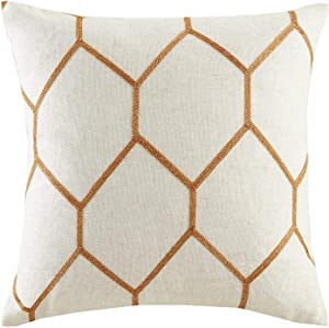 """Brooklyn Metallic Geo Linen Woven Modern Throw Pillow , Contemporary Embroidered Pattern Square Decorative Pillow , 20X20"""", Set Of 2 , Spice"""