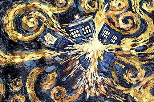 Doctor Who Poster Exploding Tardis (91,5cm x 61cm) + 2 St. Schwarze Posterleisten mit Aufhängung