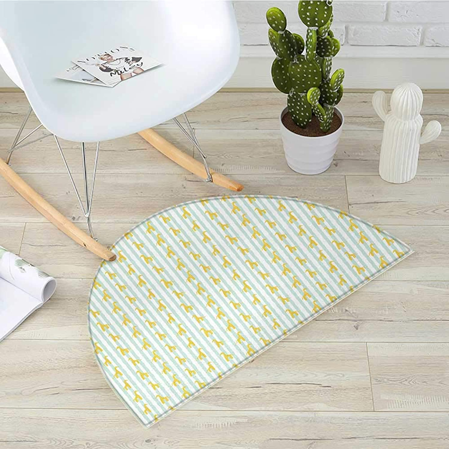 Giraffe Semicircular Cushiongreenical Stripes in Brushstroke Style Silhouettes with Yellow Spots Entry Door Mat H 31.5  xD 47.2  Mint Green Yellow White