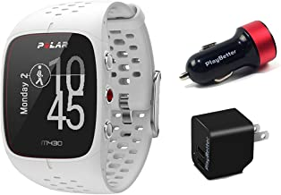 Polar M430 (White) Running Watch POWER Bundle | Includes Running Watch, PlayBetter USB Car/Wall Charging Adapters | Advanced GPS Running Watch/Activity Tracker with Optical Wrist-HR