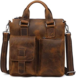 Men's Business Briefcase, Vintage Leather Casual Shoulder Cross Bag (Color : Brown, Size : M)