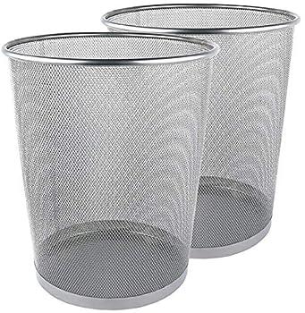 Greenco Silver Mesh Trash Can Wastebaskets 6 Gallon 2 Pack Round