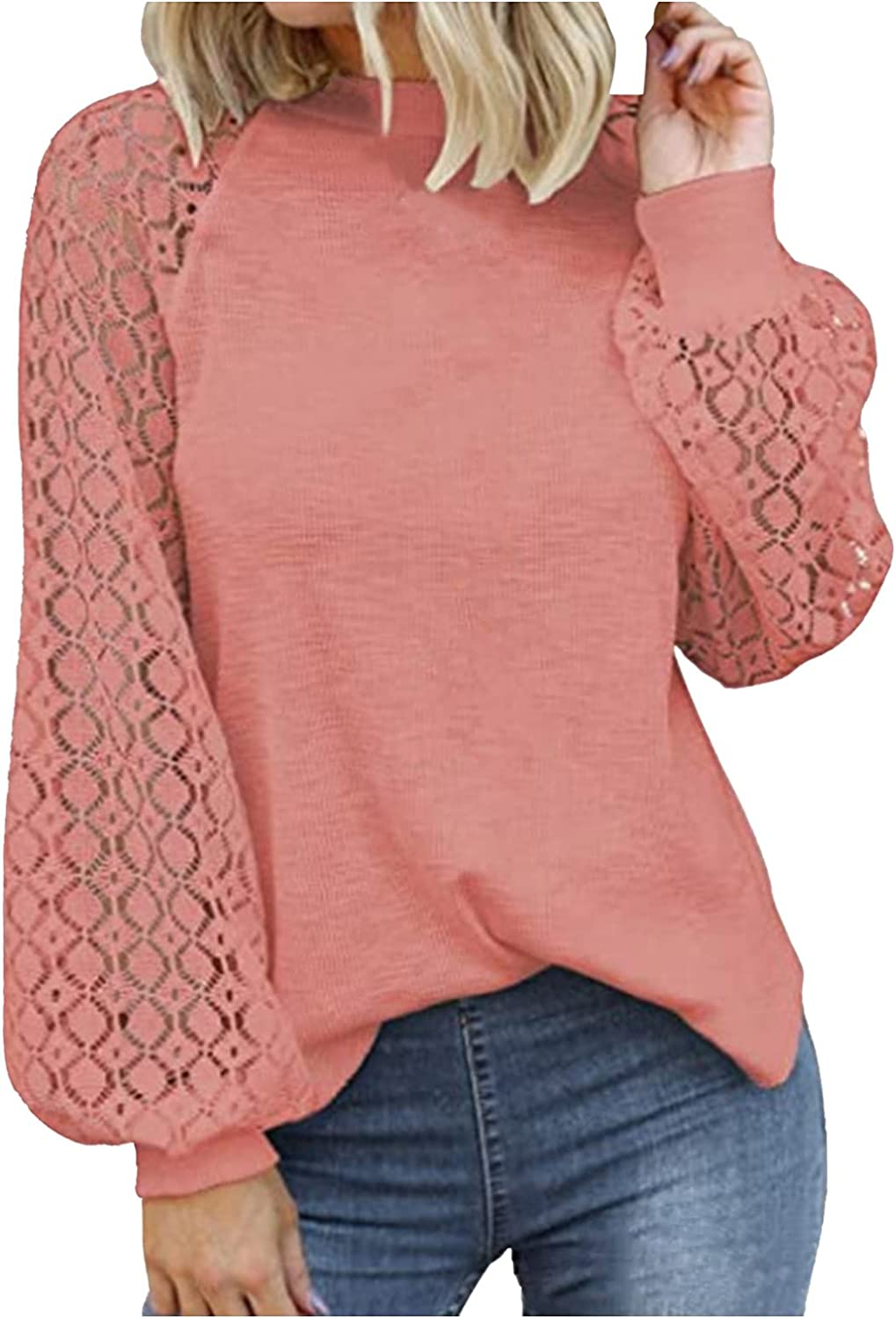 Womens Fashion Sweatshirt Long Sleeve Crew Neck Hollow Out Solid Lantern Sleeve Blouse Elegant Lace Patchwork Shirt Top
