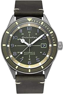 Men's Cahill 43mm Green Leather Band Steel Case Sapphire Crystal Automatic Watch SP-5064-02
