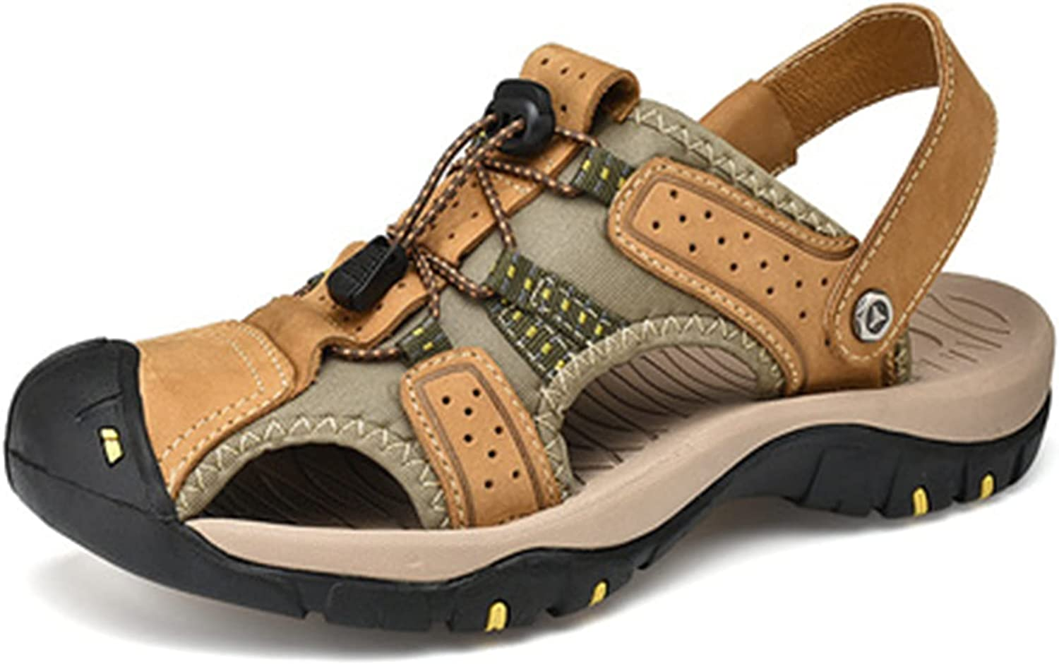 generetic Mens's Sandals Sports Outdoor Hiking Sandals Outdoor Walking Shoes Summer Casual Athletic Beach Comfortable Toecap flip Flops Comfortable Thick Bottom (Color : Brown, Size : 41)