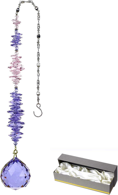 Crystal Suncatcher Birthstone Amethyst Rainbow Maker Hanging Crystal Decor for Windows GOLDENHAITAI 40mm Prism Ball Valentine Birthday Gifts for Grandma Mama Daughter Wife Girlfriend