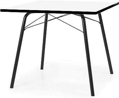 Tenzo 3611-906 Dine Designer Table à Manger, Plateau en Panneaux de Particules ép. 25 mm, mélaminé Blanc miniperle CPL, Chants Noirs, 75,5 x 90 x 90 cm (HxLxP)