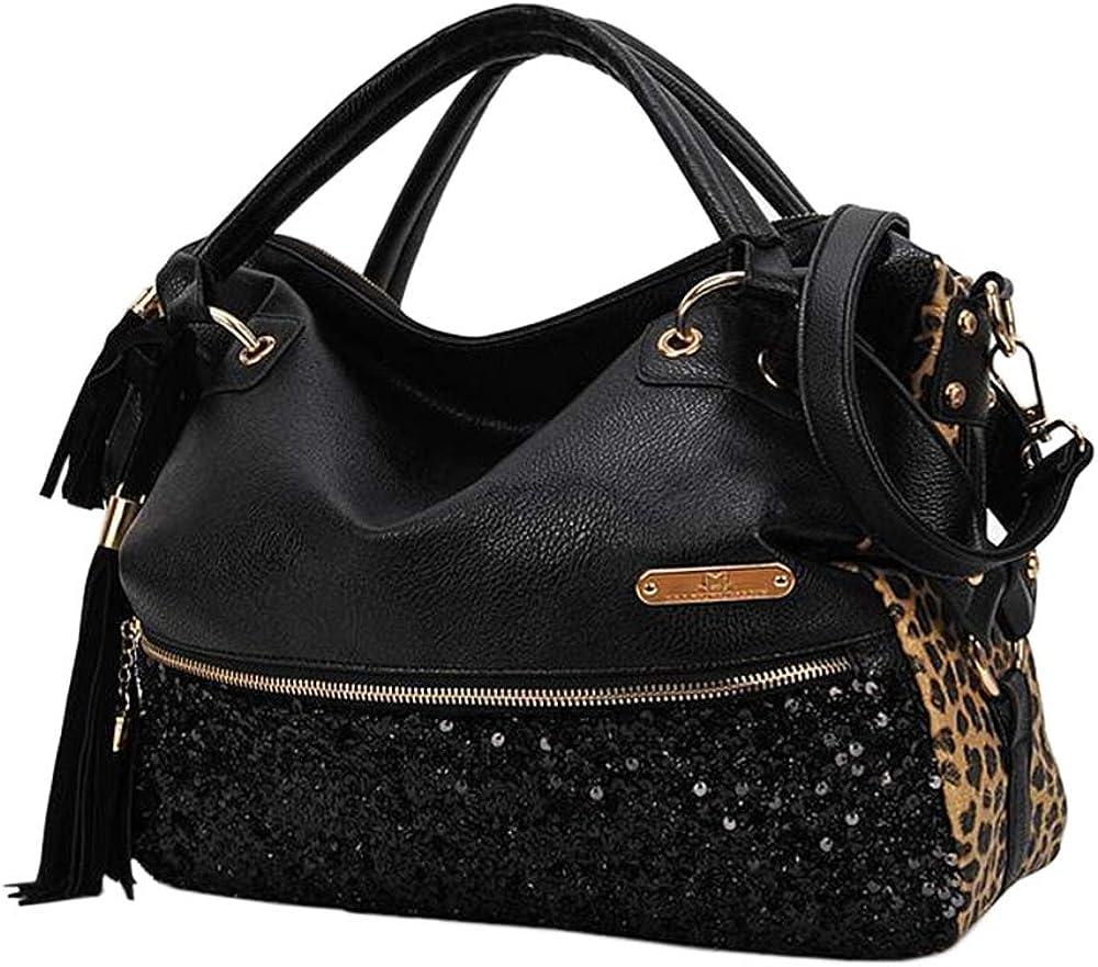 Segater Women's Leopard Print Black Purse Handbag Hobo Style Sequin PU Leather Shoulder Bag