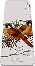 BestIdeas Yogamat Chinees schilderij met twee vogels op een bloeiende boomtak voor yoga, pilates, vloeroefening mannen vro...