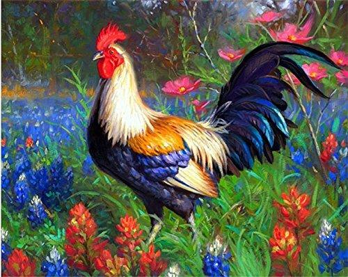 WOWDECOR Kit de pintura por números, pintura al óleo de bricolaje – Gallo azul hermosas flores lilas jardín 40,6 x 50,8 cm (sin marco)