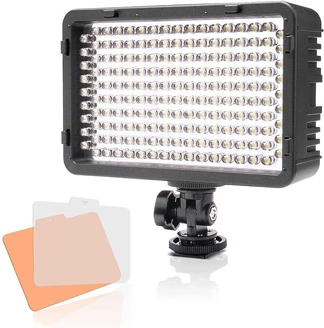 Selens LED 168 Luz Regulable Ultra Alta Potencia Panel Cámara/Videocámara Iluminación para Cámara Réflex Digital DSLR con Bi-Color Filtro Adaptador de Batería y Soporte de Montaje de Zapata