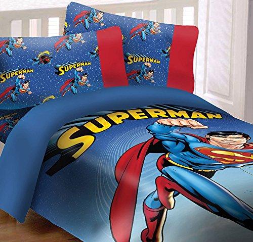 DC Comics Superman Universe - Juego de edredón reversible de 3 piezas, supersuave, de lujo, tamaño doble