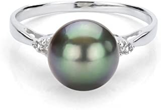 Sterling Silver 1/100cttw Diamond (G-H, SI1-SI2) on Each Side 8-8.5mm Round Black Tahitian Cultured Pearl Ring