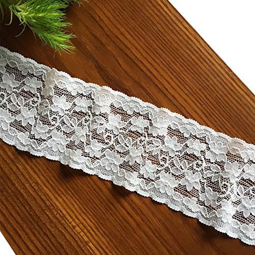 Olive Lace 2.5 Inches Wide 10 Yards White Stretchy Lace Ribbon Elastic Trim Fabric with Floral Pattern for Bridal Wedding Decorations, Sewing DIY Making and DIY Crafts (3604 White)