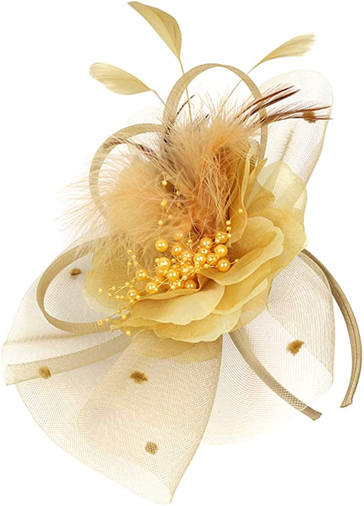 KESYOO Womens Fascinator Feather Hat with Hair Hoop Flower Mesh Hair Clip for Wedding Cocktail Tea Party Church