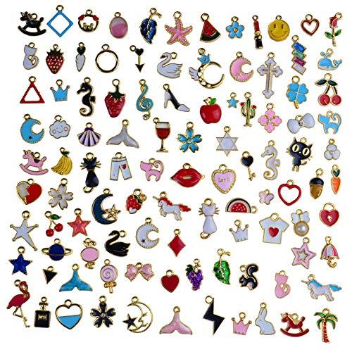 Aokbean 100 stuks Vintage Bulk Goud Glazuur Bedels Dier Fruit Bedels Maan Ster Bedels Hangers voor Partij Gunst DIY Ambachten Juwelen Maken Ketting Armband