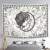 Blanco negro luna chica mandala tapiz colgante de pared sala de estar decoración del hogar dormitorio pared fondo tela A2 73x95cm