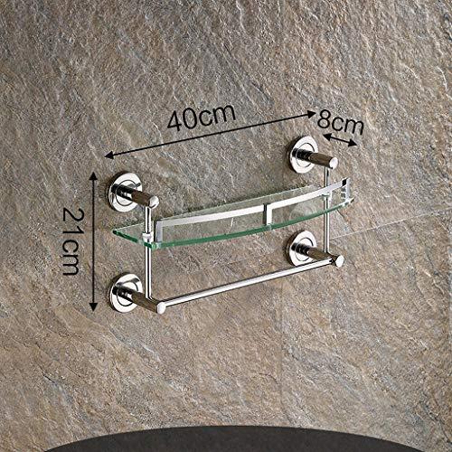 Lin HE Shop glazen rek voor aan de muur gemonteerd, voor badkamer, badkamerrek, met handdoekhouder en rail, 40 cm lang, 1,2,3 lagen voor optioneel