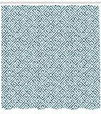 AdaCrazy Fliesen Mosaikmuster in blau & weiß mit antiken Mäander & Camo-Effekt griechischer Schlüssel Duschvorhang Stoff Badezimmer Dekor Set mit Haken Baby Blaue