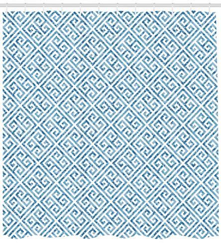 AdaCrazy Patrón de Mosaico de Azulejos en Azul y Blanco con meandro Antiguo y Efecto Camuflaje Cortina de Ducha con Llave Griega Juego de decoración de baño en Tela de Tela con Ganchos Azul bebé