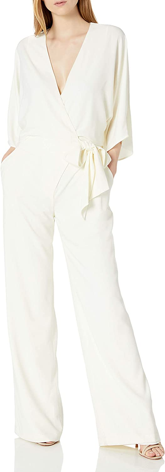 OFFer HALSTON Women's Wide Inventory cleanup selling sale Short Sleeve with Jumpsuit Waist Wrap Front