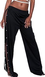 2f8f569d5f6 Jumojufol La Mujer Es Elegante Suelta La Cintura Elastica Botones Abertura  Colorblock Amplia Piernas Pantalones Largos