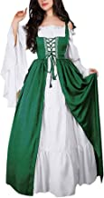 Centory Medieval Costume Women Plus Size, Women's Halloween Renaissance Cosplay Chemise and Over Dress
