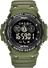 Juya Mens Digital Sports Watch Outdoor Wrist Fitness Tracker Waterproof Military Pedometer Calorie Counter Multifunction Bluetooth Smart Watch Long Standby time Compare with iOS&Android (Army Green)
