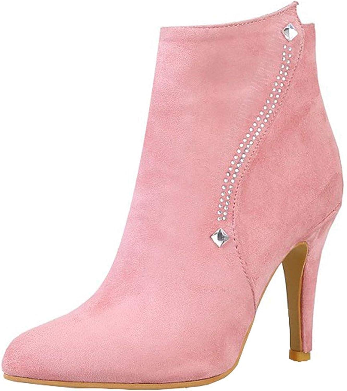 Gedigits Women's Fashion Rhinestone Stiletto High Heel Short Boots Pointed Toe Faux Suede Side Zipper Ankle Booties Beige 5.5 M US