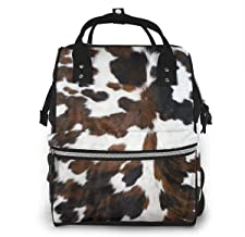 Cowhide Tan Black and White Texture Diaper Bag Multi-Function Waterproof Travel Backpack Nappy Bags for Baby Care Large Capacity Stylish and Durable