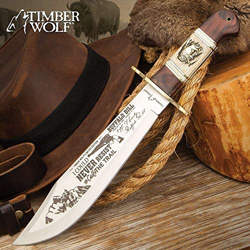 """Timber Wolf Buffalo Bill Bowie Knife And Sheath - Stainless Steel Blade, Bone And Wood Handle Scales, Brass Handguard - Length 15 1/2"""""""