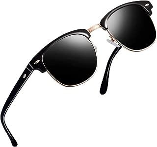 Sunglasses for Men Women - wearpro Retro Semi-Rimless Polarized Sun Glasses WP1006 (green/leopard)