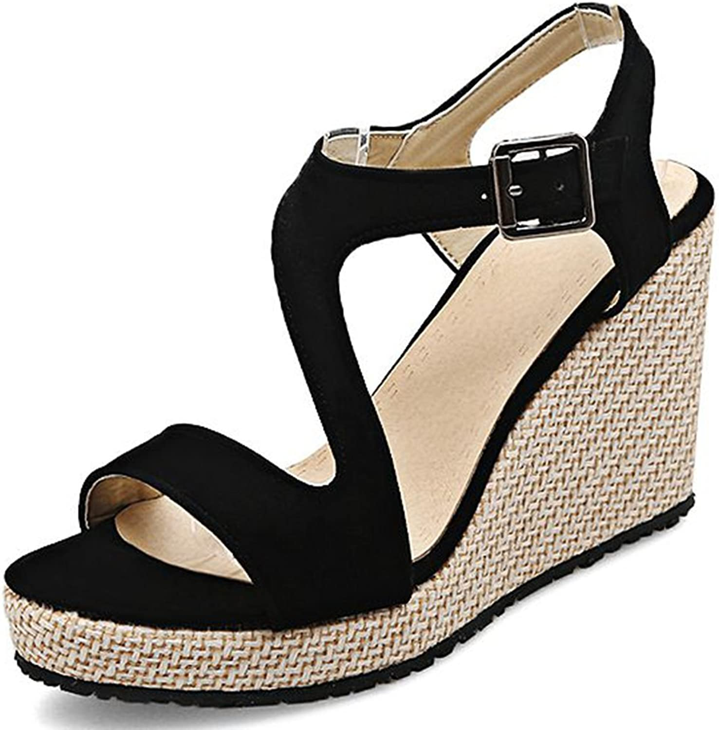 DecoStain Women's Leisure Ankle Strap Sandals Buckle Party Platform Prom Wedges Sandals