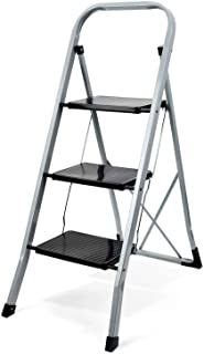 Delxo 3 Step Ladder Folding Step Stool Ladder with Handgrip Anti-Slip Sturdy and Wide Pedal Multi-Use for Household and Office Portable Step Stool Steel 330lbs Black(3 feet)