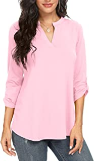 Womens Summer Shirts Notch V Neck Blouses 3/4 Roll Sleeve...