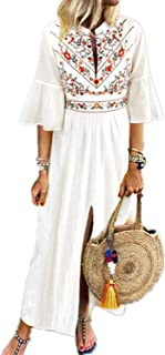 CNFIO Women's Bohemian Floral Kaftans Dress Split Long Maxi Dress