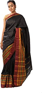 Mirraw Classiques Black Woven Art Silk Saree with Unstitched Blouse