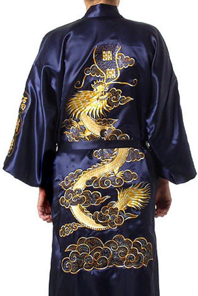 Men Satin Robe with Shorts Dragon Luxurious Silk Spa Long Sleeve Kimono Bathrobe
