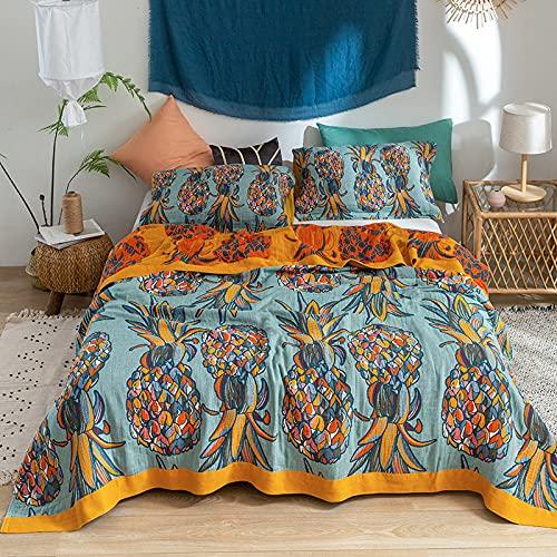 KLily Manta Floral De Piña De Verano Material De Algodón Lavado Casa Dormitorio Manta para La Siesta De Los Niños Manta Doble Individual