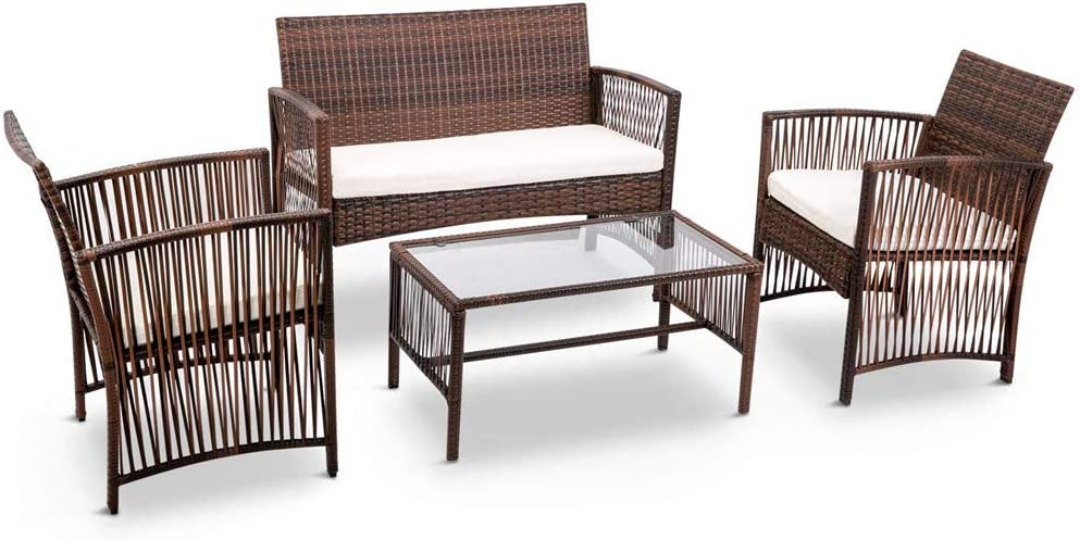 Veryke 4 OFFicial Max 81% OFF site Piece Patio Furniture Conversation Sets Sofa Rattan Rat