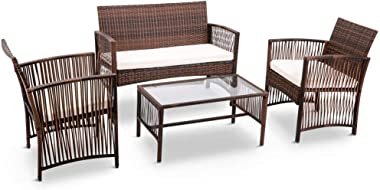 Veryke 4 Piece Patio Furniture Conversation Sets Rattan Sofa Rattan Chair Cushioned Seat Indoor Outdoor Garden Balcony Pool Wicker Furniture Set with Glass Tabletop Tea Table